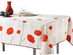 60 x 120-Inch Rectangular Tablecloth Ivory White Red Poppy F