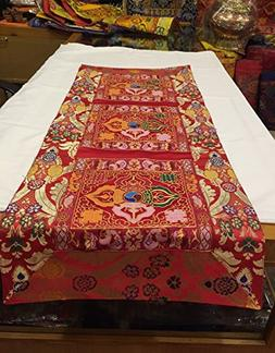 Tibetan red double dorje silk brocade table runner/shrine co