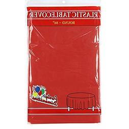 Red Round Plastic Tablecloth - 4 Pack - Premium Quality Disp
