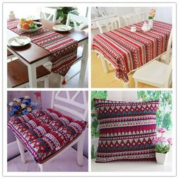 Red Vintage Bohemian Lace Tablecloth Boho Kitchen Dining Tab