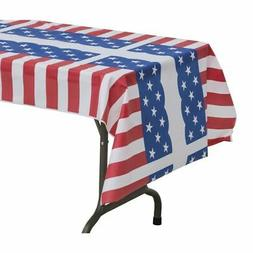 Table Mate Red/White/Blue Plastic Disposable Table Cover - 4