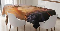 Retro Fantasy Tablecloth Ambesonne 3 Sizes Rectangular Table