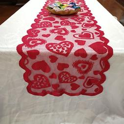 Romantic Lace Love Table Runner Dining Table Cover Valentine