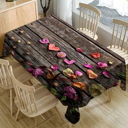 Romantic Valentine's Day Tablecloth Love Flower Print Rectan