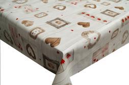 Romantic Wood Hearts PVC Tablecloth Vinyl Oilcloth Kitchen D