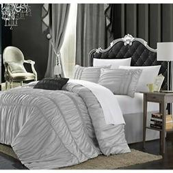 Chic Home Romantica 5-Piece Comforter Set, King, Silver