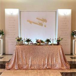 rose gold 50 x80 rectangle sequin tablecloth