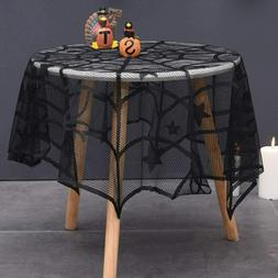 Round Black Spider Web Table Cover for Halloween Party Decor