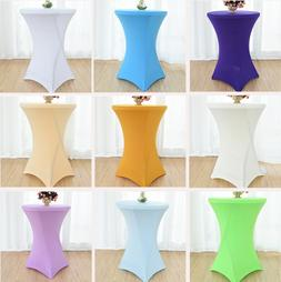 Round Cocktail Spandex Fitted Stretch Tablecloth Table Cover