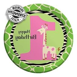 9 inch Round Dinner Plates Wild At One Giraffe 96 Ct