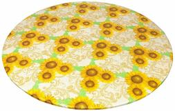 Round Fitted Tablecloth Vinyl Flannel Backed w/ Elastic Sunf
