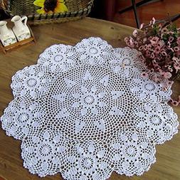 Gracebuy 27 Inch White Round HANDMADE Crochet Lace Tableclot