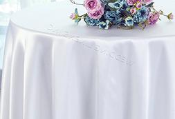 "Wedding Linens Inc. 132"" Round Heavy Duty Satin tablecloths"