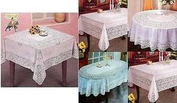 ROUND OVAL & RECTANGLE VINYL WHITE EMBOSSED LACE TABLE CLOTH