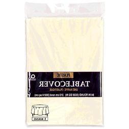 "Amscan Round Plastic Table Cover | Vanilla Creme | 84"" | Par"