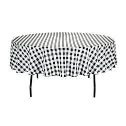 LinenTablecloth 90-Inch Round Polyester Tablecloth Black & W