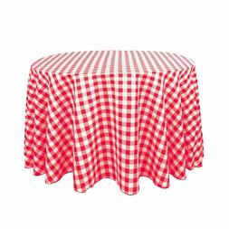 LinenTablecloth 108-Inch Round Polyester Tablecloth Red & Wh