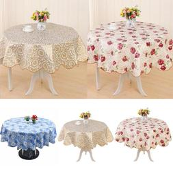 Round PVC Tablecloth Kitchen Dining Oilcloth Vinyl Table Clo