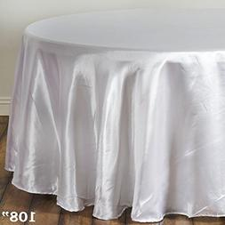 BalsaCircle 108-Inch White Round Satin Tablecloth Table Cove