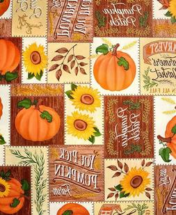 Round Seasonal Table Cover - Pumpkin Patch Thanksgiving Fall