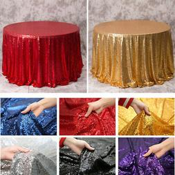 Round Sequins Dining Table Cloth DustProof Oil-proof Cover f