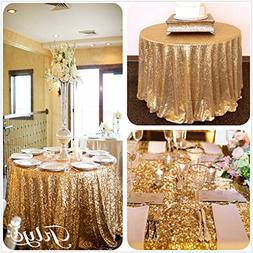 """96"""" Round Sparkly gold Sequin Table Cloth Sequin Table Cloth"""