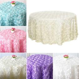 Round Table Cloth Rosette Embroider Table Cover 3D Rose Flow