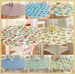 ROUND VINYL FITTED ELASTIC TABLE COVER FLANNEL BACK ~ FITS U