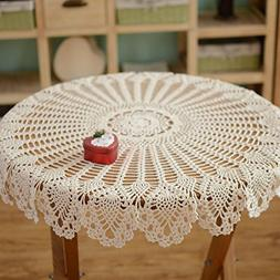 yazi Rustic Crochet Tablecloth White Cotton Handmade Crochet