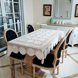 Ustide Rustic Floral Table Cover Beige Hand Crochet Tableclo