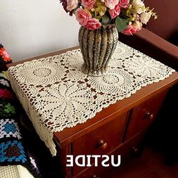 Ustide Rustic Floral Table Runner Hand Crochet Table Placema