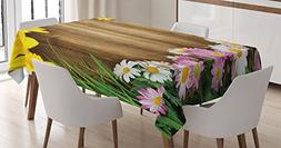 Ambesonne Rustic Home Decor Tablecloth, Collection of Variou