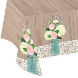 Creative Converting Rustic Wedding Plastic Table Cover All O