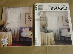 McCALL'S 3503 HOME DECOR LACE EDGED PILLOWS TABLE COVERS CUR