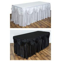 Satin Double Drape Table Skirt Table Covers For Rectangle Or