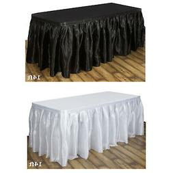 Satin Table Skirt Party Event Table Covers For Rectangle Or