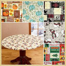 SEASONAL ROUND VINYL FITTED ELASTIC TABLE COVER ~ FITS UP TO