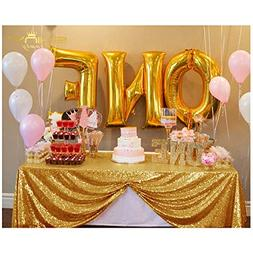 ShinyBeauty 60inx102in Sequin Tablecloth-Rectanglar-Gold-for