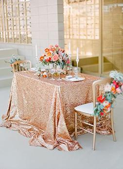 Sequin Tablecloth 60x102-Inch,Rose Gold Elegant Shimmer Squa