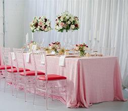 ShinyBeauty 60inx102in Sequin Tablecloth-Rectanglar-Blush Pi