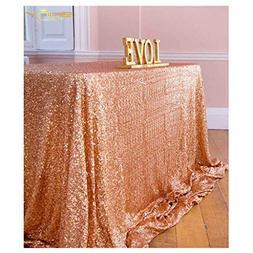 ShinyBeauty 60inx102in Sequin Tablecloth-Rectanglar-Rose Gol