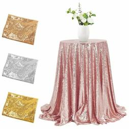 """Sequin Tablecloth Round 48"""" Dia Sparkly Glitter Table Cover"""