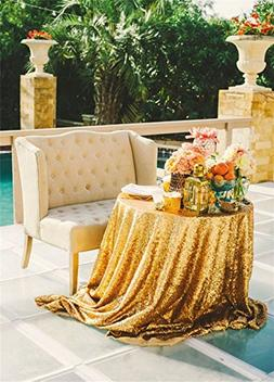 """QueenDream 50""""Sequin Tablecloth Round Designed Gold Table Co"""