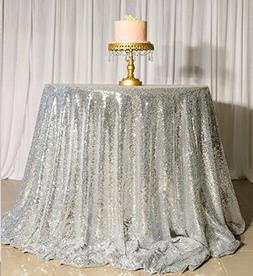 sequin tablecloth silver round