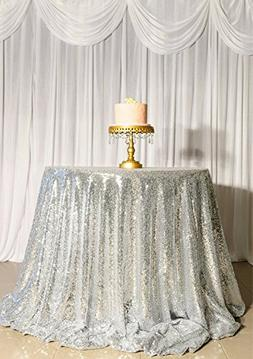 ShinyBeauty Sequin Tablecloth-Silver-48Inch Round Sequin Tab
