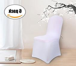Deconovo Set of 6pcs White Spandex Chair Covers Dining Chair