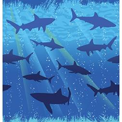 "Shark Splash Tablecover Plastic 54"" x 108"" 6ct"