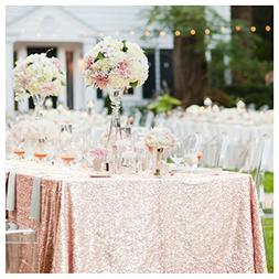 ShinyBeauty 60inx102in Sequin Tablecloth-Rectanglar-Blush-fo