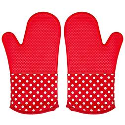 Silicone Oven Mitt for Grill, 1 Pair Extra Long Large Heat H