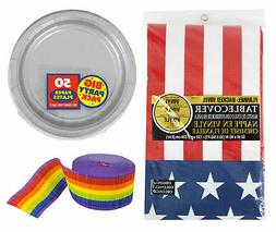 Amscan Silver Party Plates with Patriotic Table Cover and Pa